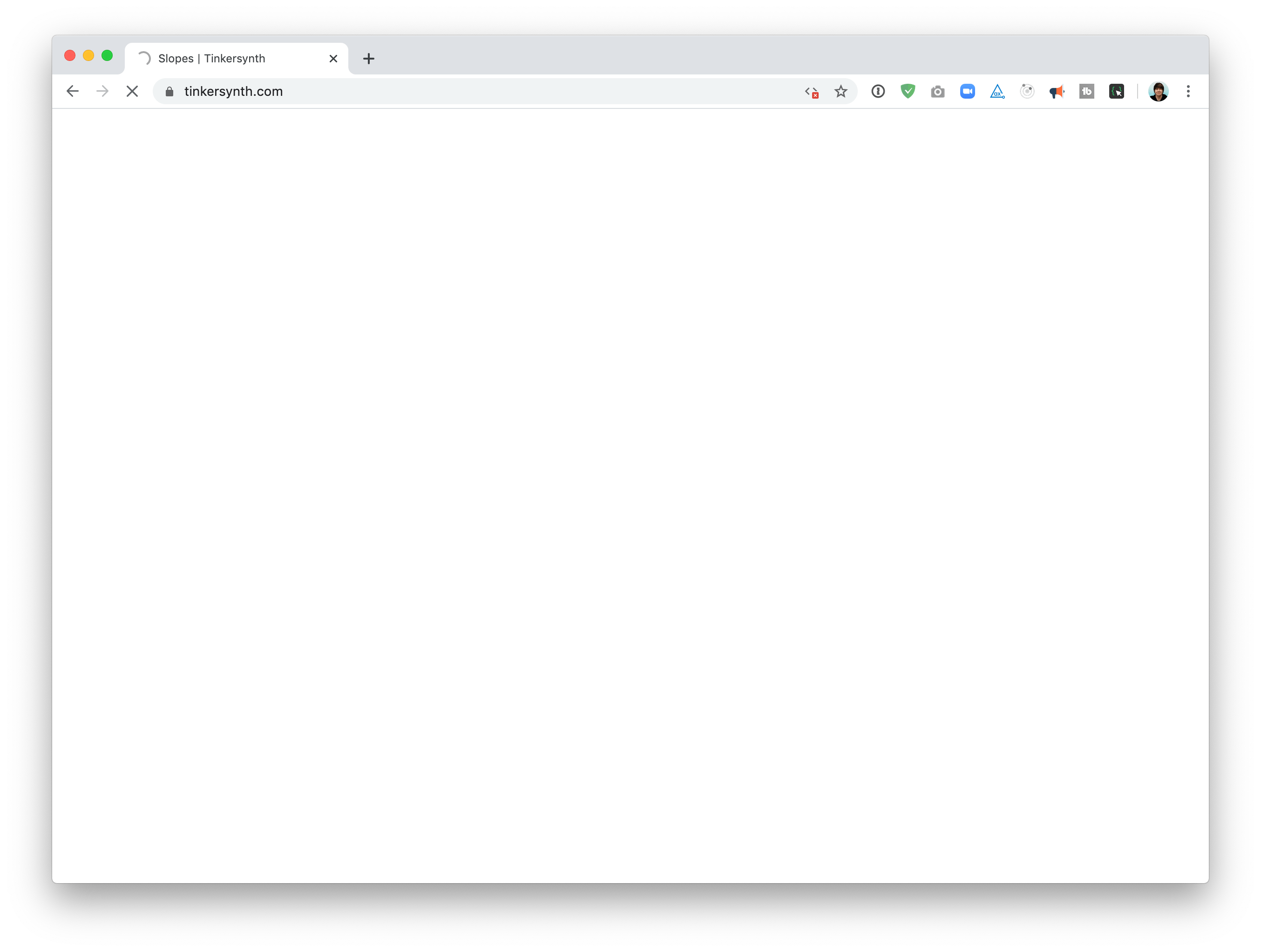 Screenshot of a browser loading a page, with an all-blank screen
