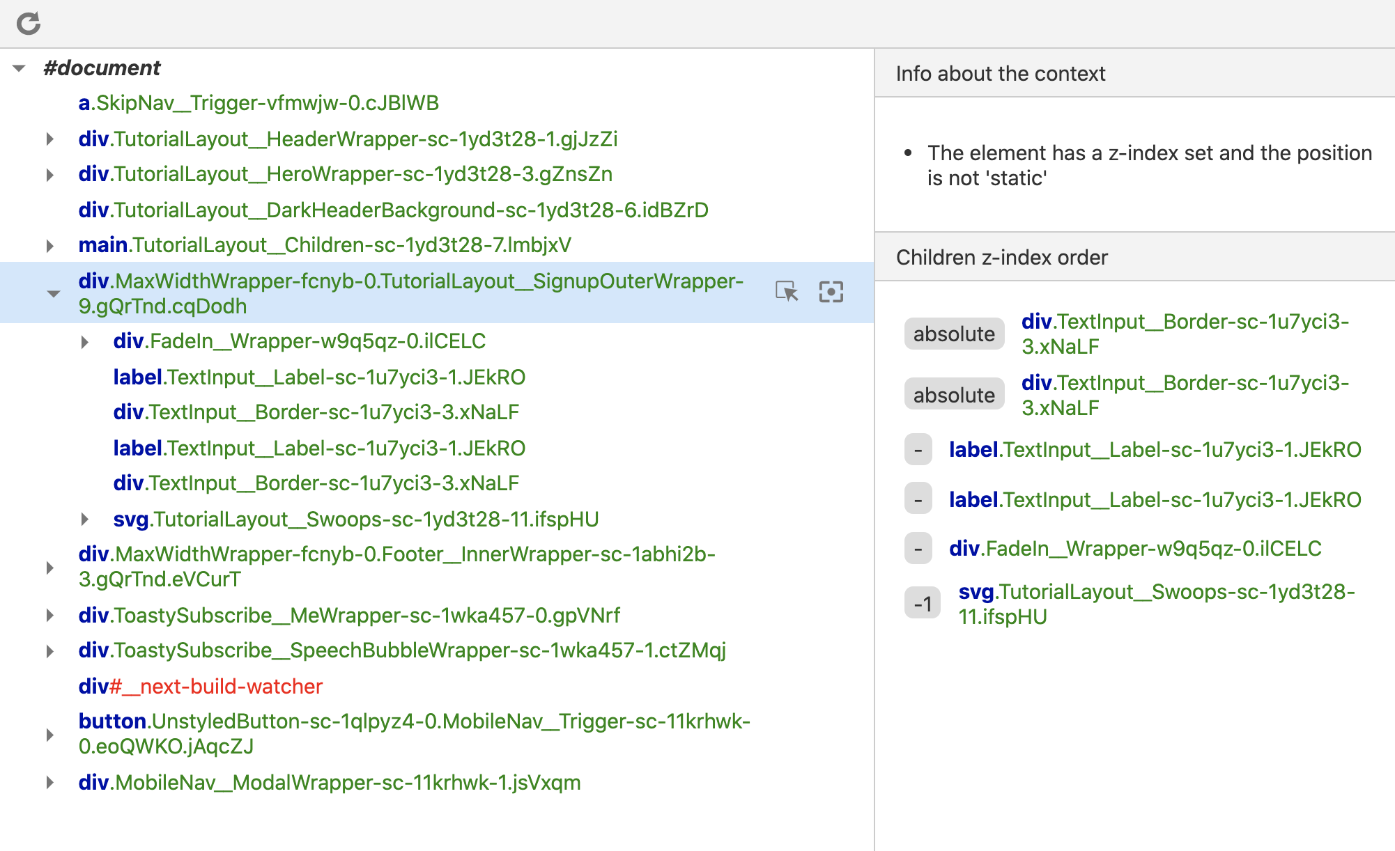 Screenshot of the Chrome devtools with a new pane that shows info about the element's current stacking context