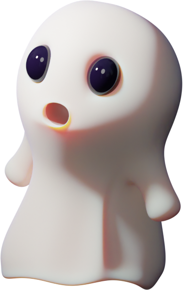 3D illustration of a scared ghost