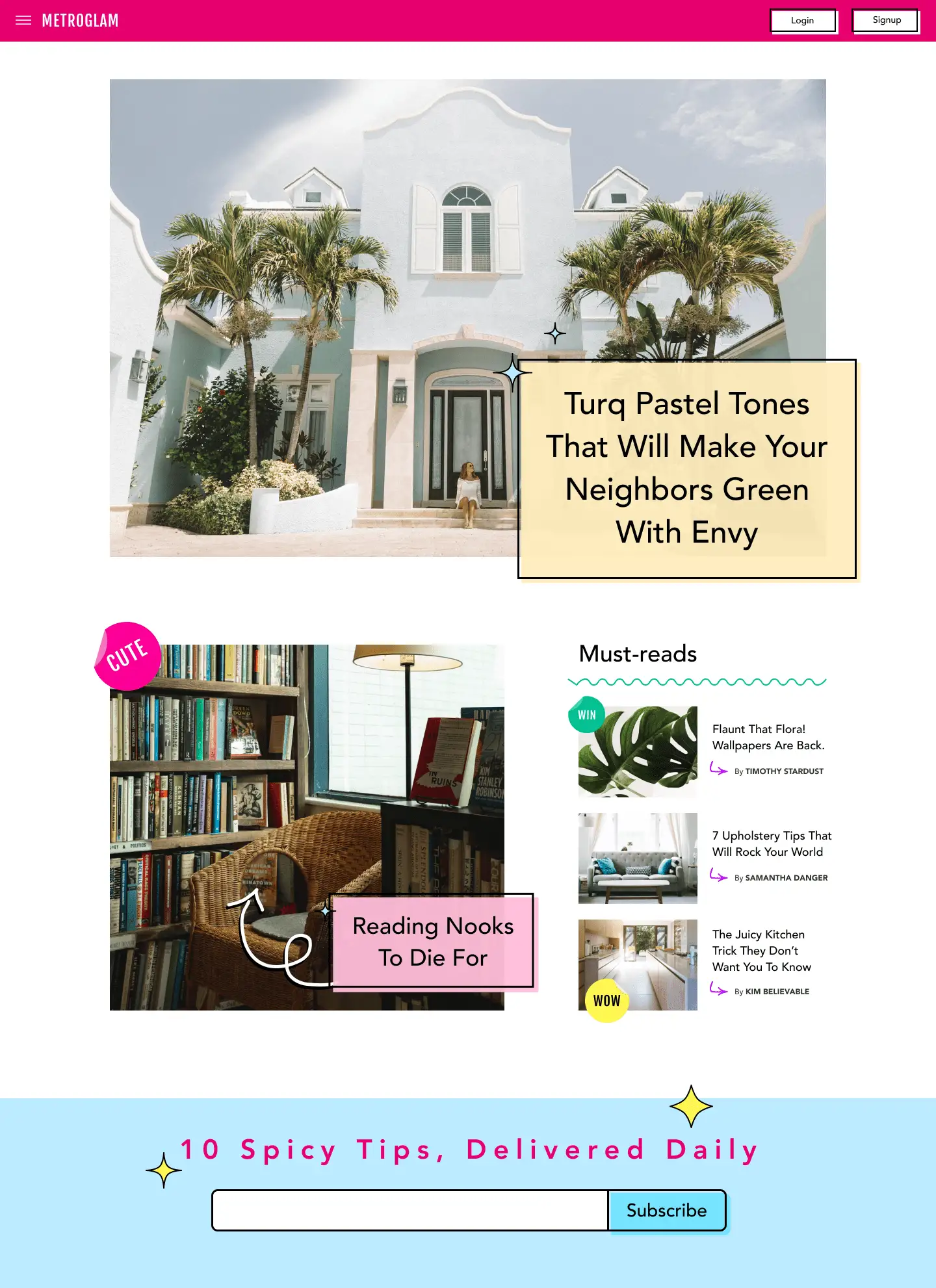A mockup of a Cosmopolitan-style online magazine, except all the articles are about interior design and architecture
