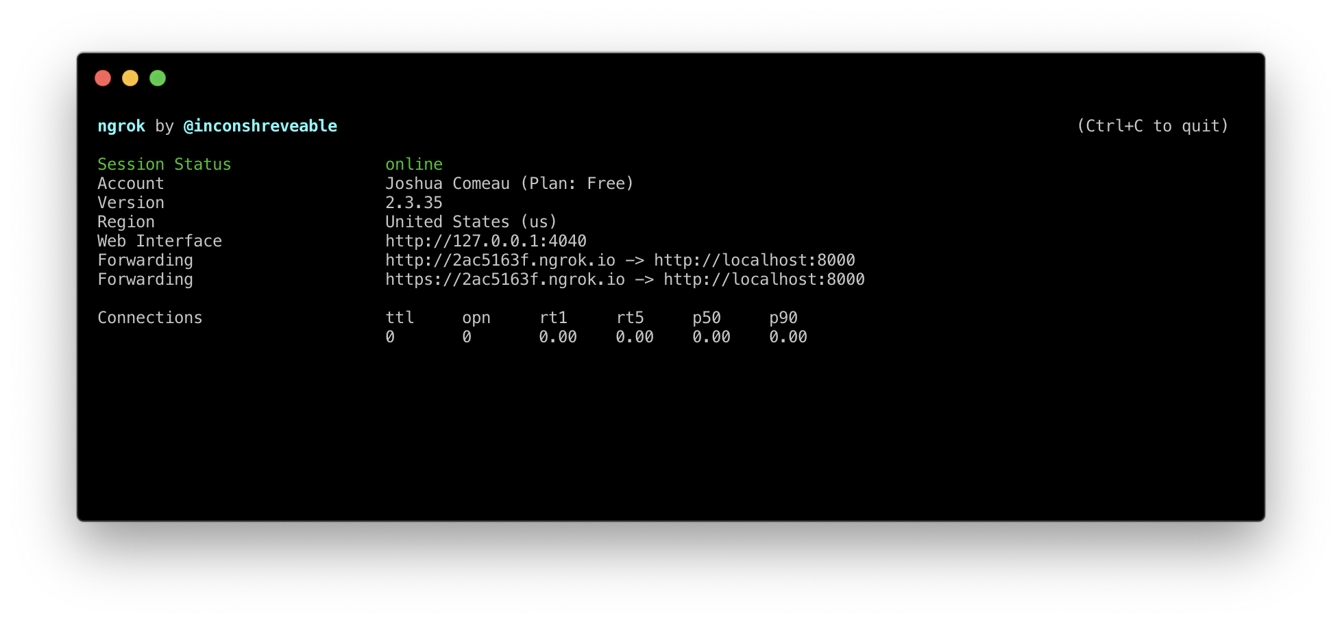 Terminal screenshot showing the forwarding URL that ngrok provides