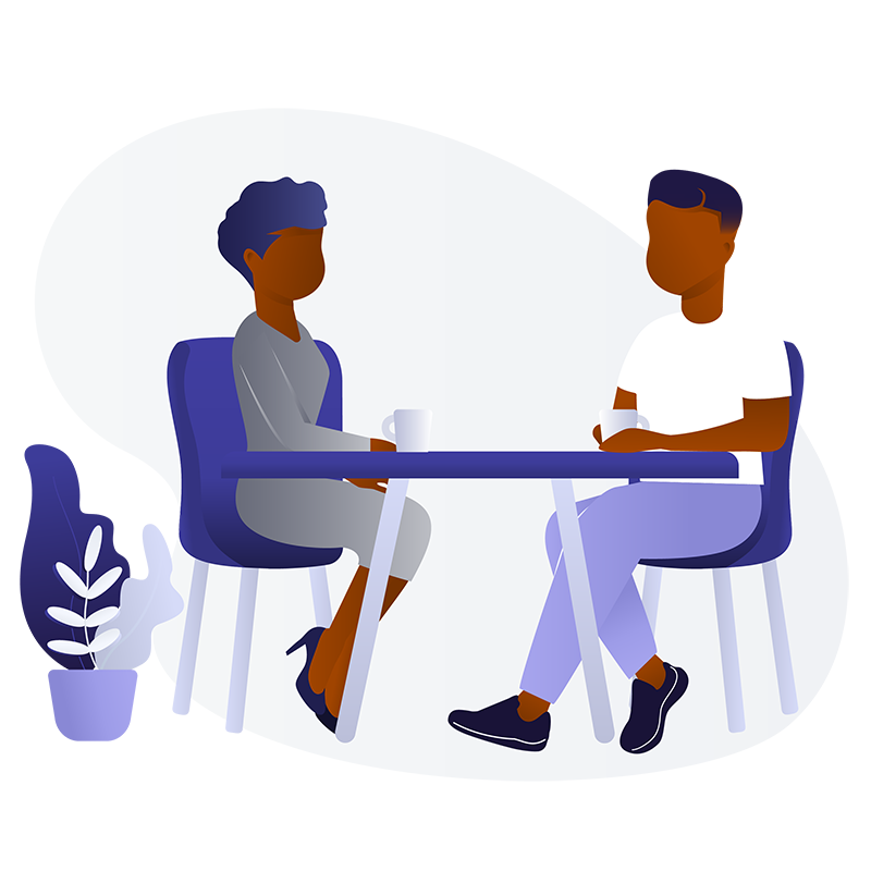 An illustration of a Black man and woman in a coffee shop