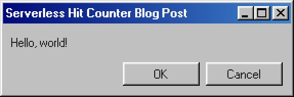 A Windows-98-style prompt, with 'OK' and 'Cancel' buttons.