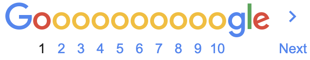 The bottom of Google search results, which shows the numbers 1 through 10 representing the pages of results