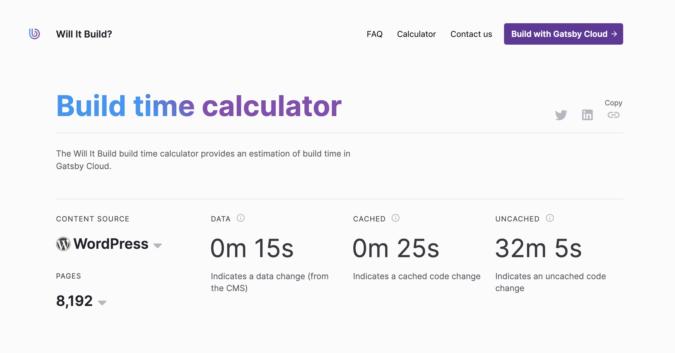 A screenshot showing the Will it Build calculator, showing that a Wordpress site with 8000 pages can rebuild in 15 seconds.